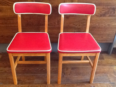 1950's Pair of Oak and Vinyl Kitchen Chairs