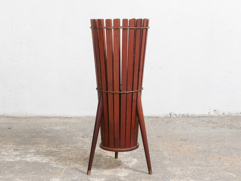 1960's Wooden Slatted Umbrella Stand