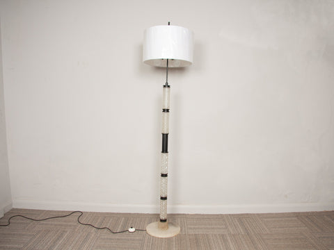 1960s Belgium Crystal Glass, Marble and Black Metal Floor Lamp