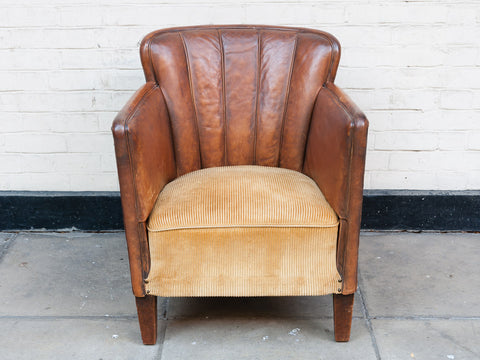 1940s Leather Scalloped Club Chair