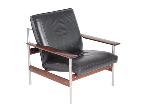 1960s Norwegian Leather & Rosewood Lounge Chair by Sven Ivar Dysthe for Dokka Mobler