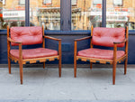 Pair of 1960's Ire Mobler Skillingaryd Leather and Rosewood Swedish Armchairs