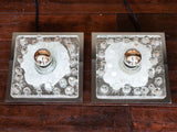 1970s Pair of Handblown Square Glass and Chrome Wall Lights by Peill & Putzler