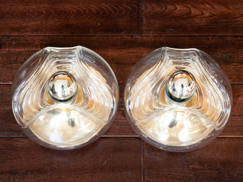 Pair of 1970's Glass and Gold Metal Peill & Putzler Wall Light Sconces