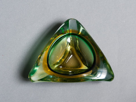 MIDCENTURY MURANO GREEN AMBER GLASS TRIANGULAR ASHTRAY