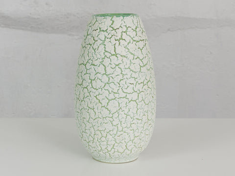 1960's Jasba Green and White Crackle Glaze Vase