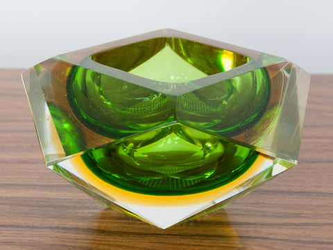 1970s Diamond Shaped Murano Sommerso Glass Bowl or Ashtray