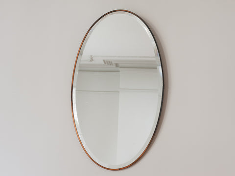 1940s Oval Brass Bevelled Edge Wall Mirror