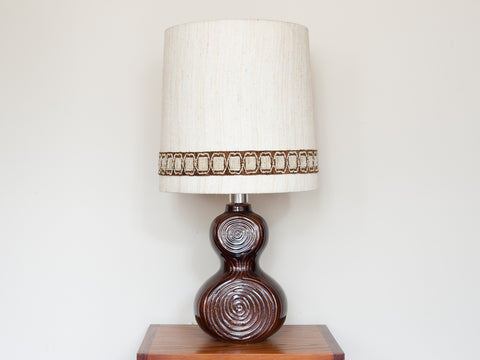 1970s German Glazed Brown Ceramic Table Lamp