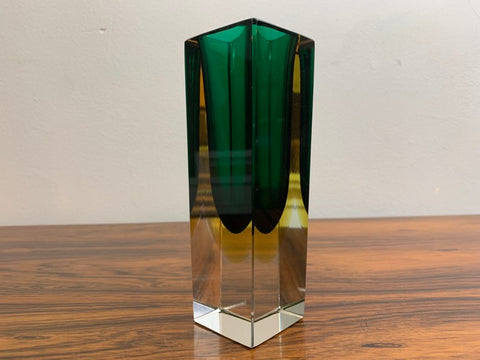 Small 1970s Green & Yellow Rectangular Murano Sommerso Glass Vase