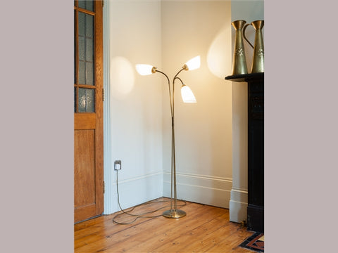 1950s Articulated Three Arm Brass Floor Lamp