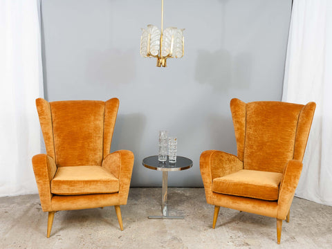 Pair of Vintage Italian Gold Wingback Lounge Armchairs, 1950s