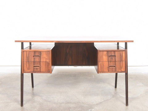 1960's Danish Rosewood Twin Pedestal Desk