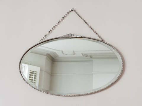 1930s Art Deco Oval Wall Mirror