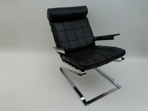 Danish Chrome and Leatherette Chair