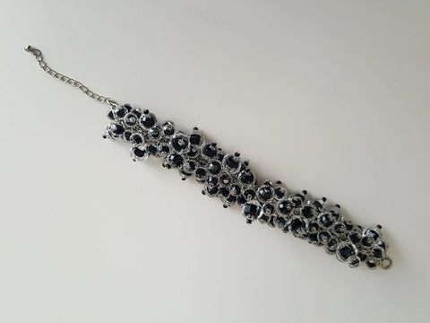 Vintage Black and Clear Plastic Beaded Bauble Bracelet