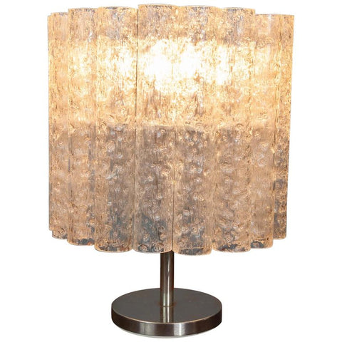 1970s Doria Leuchten Crystal Iced Glass Tubular Table Lamp