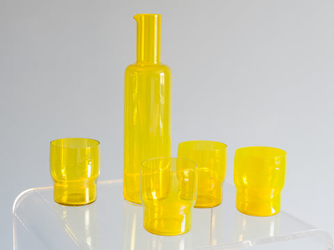 Bright Yellow Carafe and 4 Water Glasses