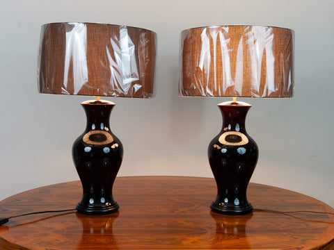 Pair of Belgium Brown Glazed Ceramic Lamps including shades