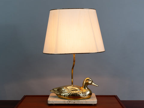 Vintage French Brass Duck on a Marble Stand Table Lamp