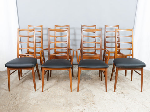 Set of 8 Danish Teak Ladder back Niels Koefoed Dining Chairs for Koefoed Hornslet