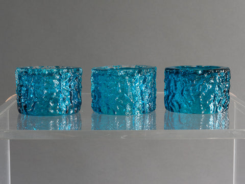 Whitefriars Kingfisher Blue Bark Effect Glass Candle Holders