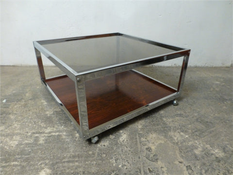 1970's Heal's Chrome and Rosewood Coffee Table