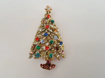 1950s ART Frosted Christmas Tree Brooch