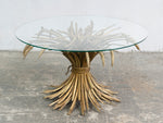 1960s Italian Gilt Wheat Sheaf Coffee Table