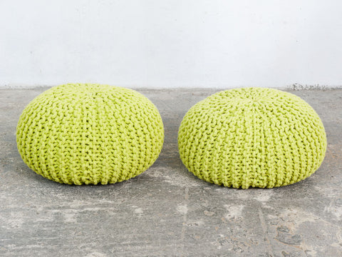 Vintage Lime Green Cable Knit Pouf