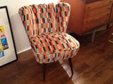 1940's Cocktail Chair in Kirkby District Neon Orange Fabric