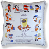 Vintage Cushions - The Manchester Guardian with a Glass of Heineken