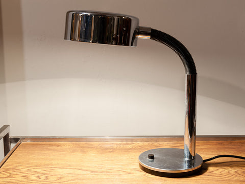 1970s German Hillebrand Flexible Black and Chrome Desk Lamp