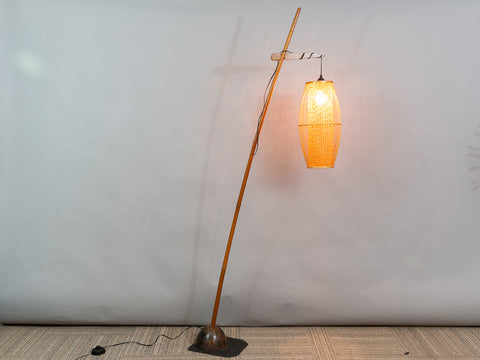Vintage Bamboo and Coconut Floor Lamp with a Rattan Shade