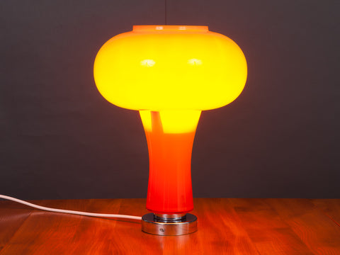 1970s Orange and White Cased Glass and Chrome Atomic Lamp