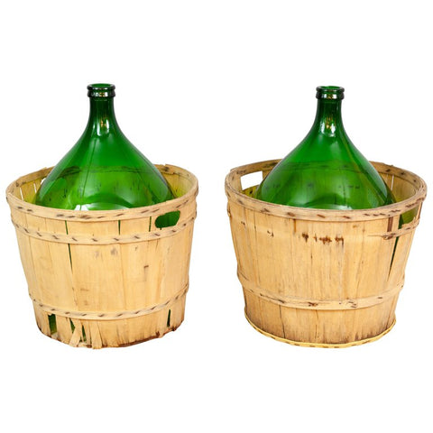 Large French Antique Emerald Green Demi-John in a Wooden Basket