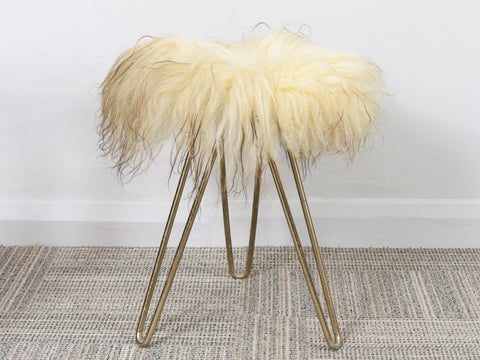 VINTAGE THREE HAIRPIN LEGGED LAMBSWOOL FUR STOOL