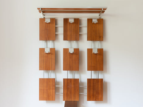 1970's GERMAN WALL HANGING TEAK COAT RACK