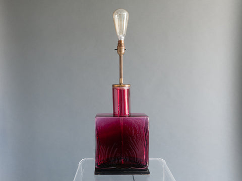 1960s Belgium Brass and Ruby Red Glass Lamp base
