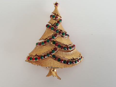 Vintage 1960s Christmas Tree with Red and Green Rhinestone Brooch