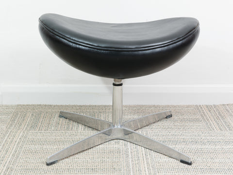 Arne Jacobsen Black Leather & Chrome Reproduction Footstool/Ottoman