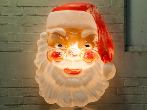 1960s Vintage Santa Claus Illuminated Face
