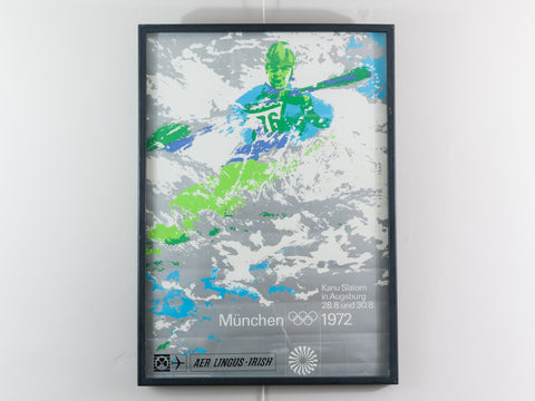Original 1972 Munich Olympics Aer Lingus Men's Kayak Poster by Oti Archer