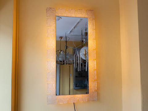 1970's German Hillebrand Backlit Wall Mirror with Acrylic Frosted Iced Surround