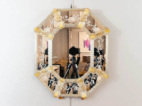 1960s Octagonal Italian Murano Venetian Floral Etched Wall Mirror