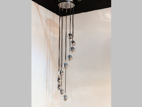 1960s German Chrome Hanging Light