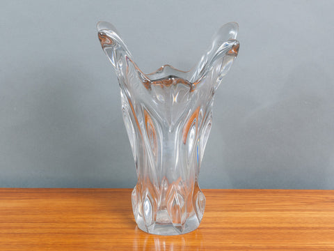 1950's French Art Glass Crystal Vase