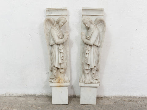 Pair of White Marble Angel Sculptures