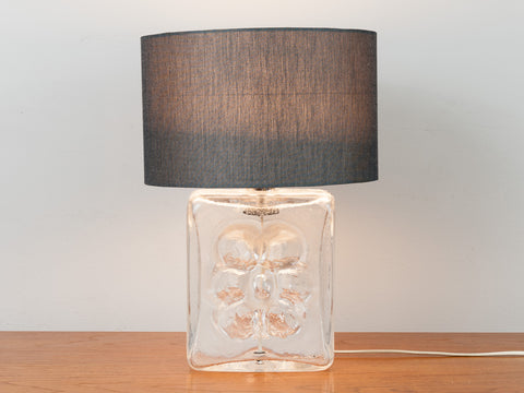 1970's Textured Glass Flower Lamp Base