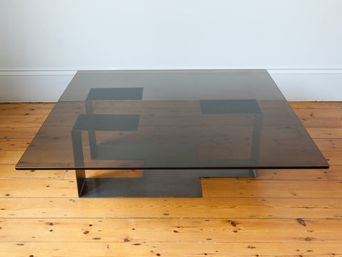 1970s Steel and Smoked Glass Coffee Table